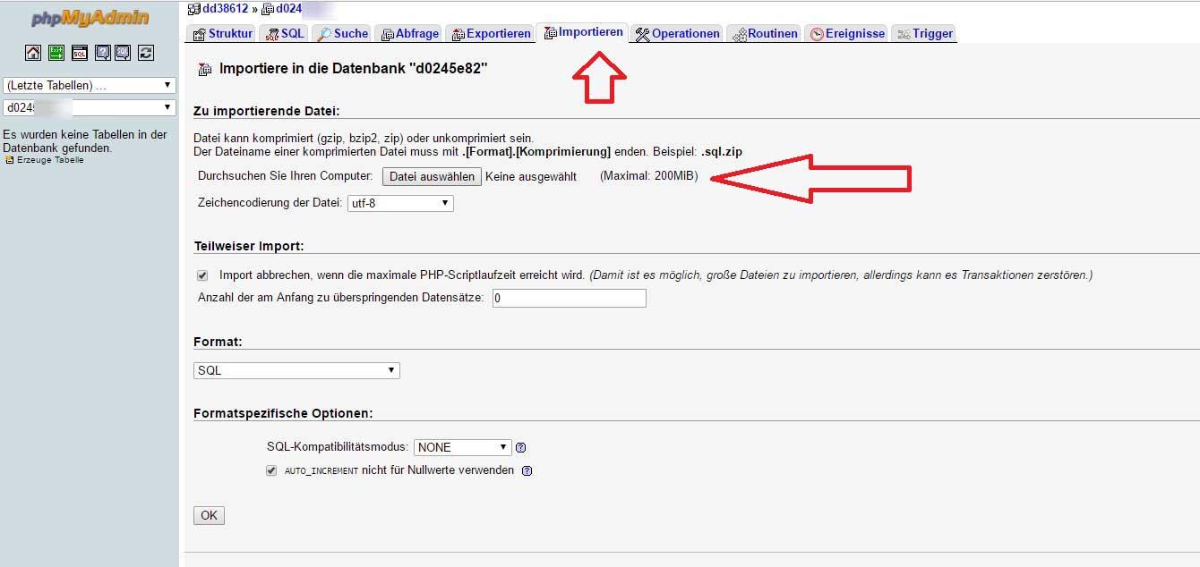 Wordpress Seite umziehen - Datenbank mit phpMyadmin importieren